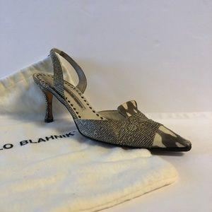 Manolo Blahnik Snakeskin Slingback Pumps